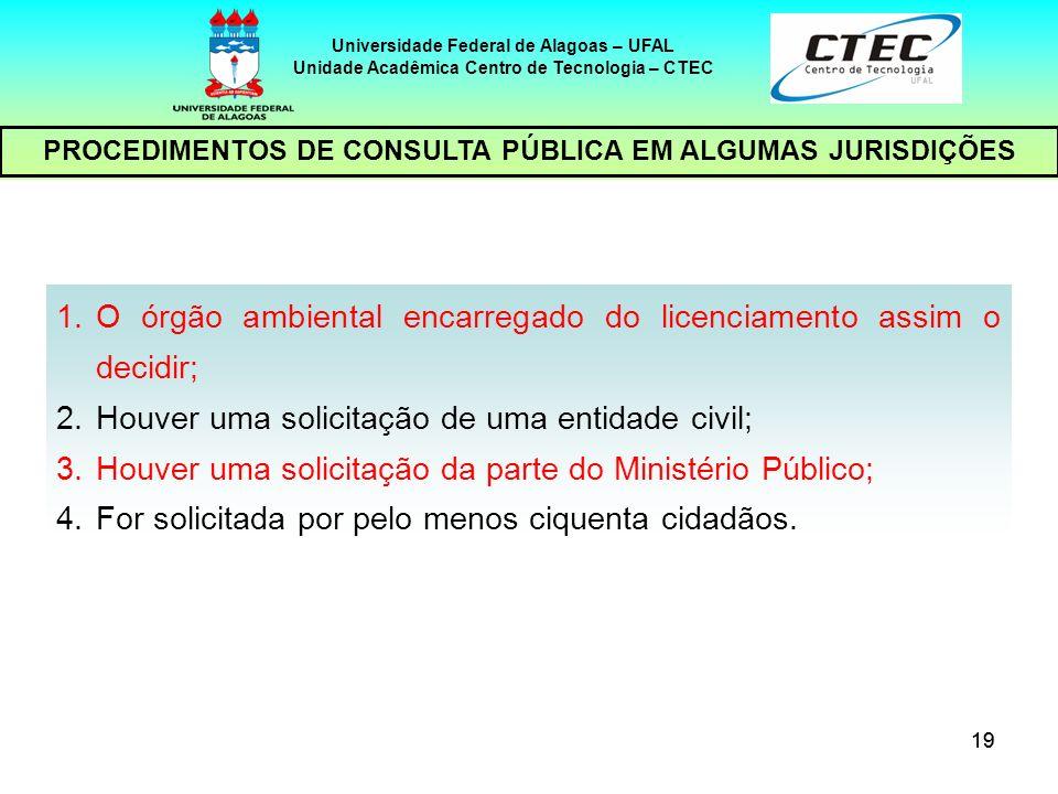 20 Universidade Federal de Alagoas – UFAL Unidade Acadêmica Centro de Tecnologia – CTEC PROCEDIMENTOS DE CONSULTA PÚBLICA EM ALGUMAS JURISDIÇÕES ORGANIZAÇÃO DA AUDIÊNCIA AGENTE 1 a parte: abertura;Secretaria do Meio Ambiente (saudação inicial); Coordenador da Secretaria do Meio Ambiente (esclarecimentos sobre o processo).