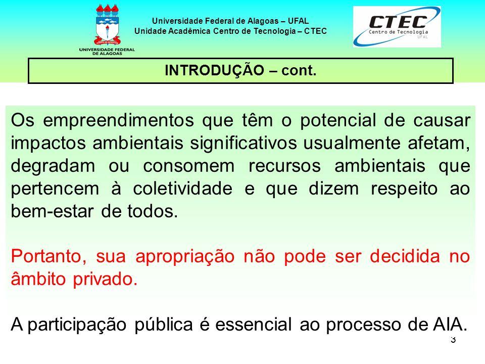 44 Universidade Federal de Alagoas – UFAL Unidade Acadêmica Centro de Tecnologia – CTEC No plano dos tratados internacionais, há um documento específico sobre participação pública, a Convenção de Aarhus, cidade dinamarquesa onde foi firmada, em 25 de junho de 1998.