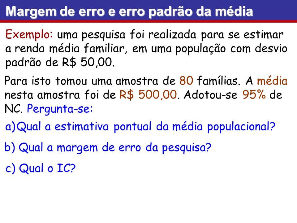 Exemplo: uma pesquisa foi realizada para se estimar a renda média familiar, em uma população com desvio padrão de R$ 50,00. Para isto tomou uma amostr