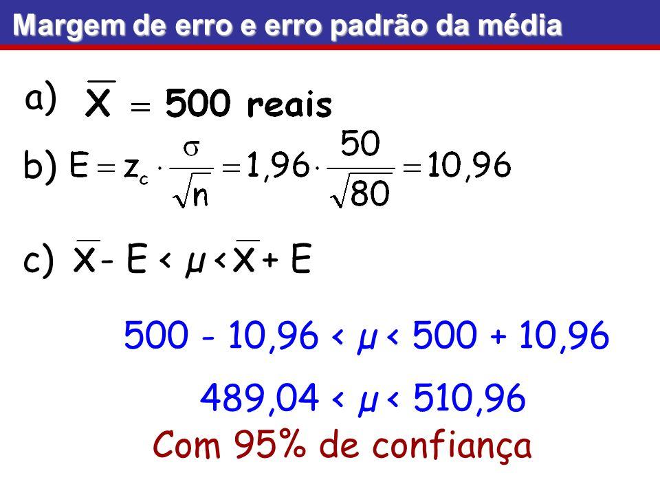 a) b) Margem de erro e erro padrão da média - E < µ < + E Com 95% de confiança c) 500 - 10,96 < µ < 500 + 10,96 489,04 < µ < 510,96