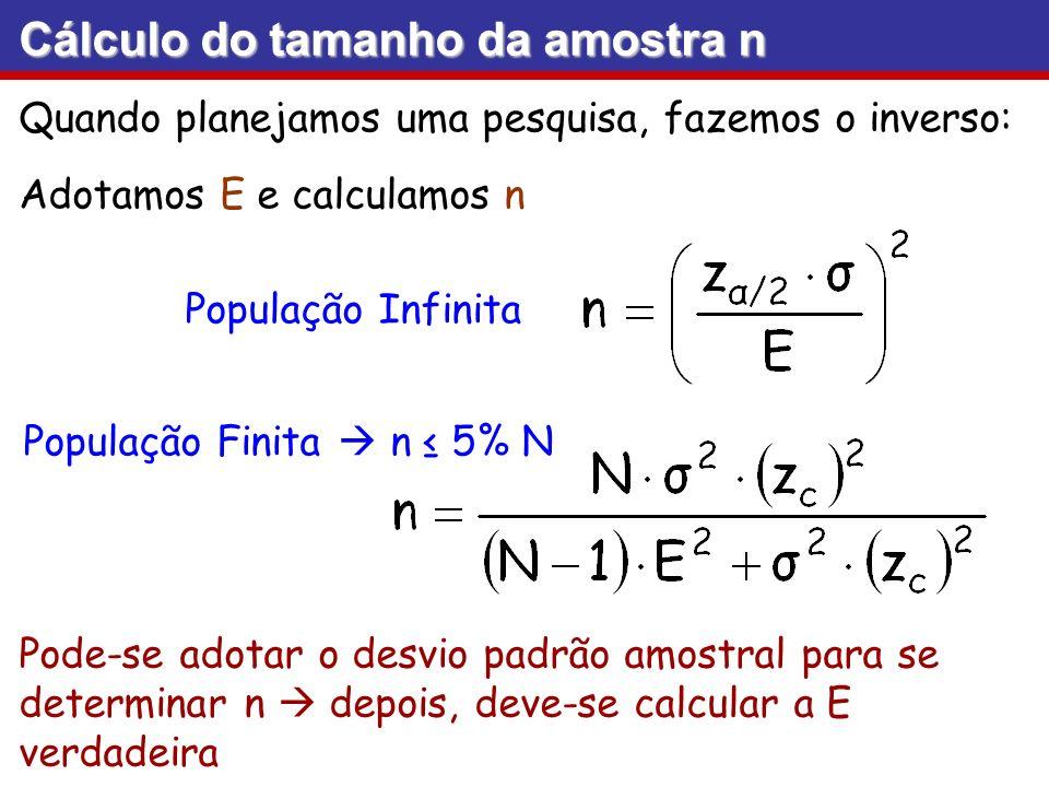 Cálculo do tamanho da amostra n Quando planejamos uma pesquisa, fazemos o inverso: Adotamos E e calculamos n População Infinita População Finita n 5%