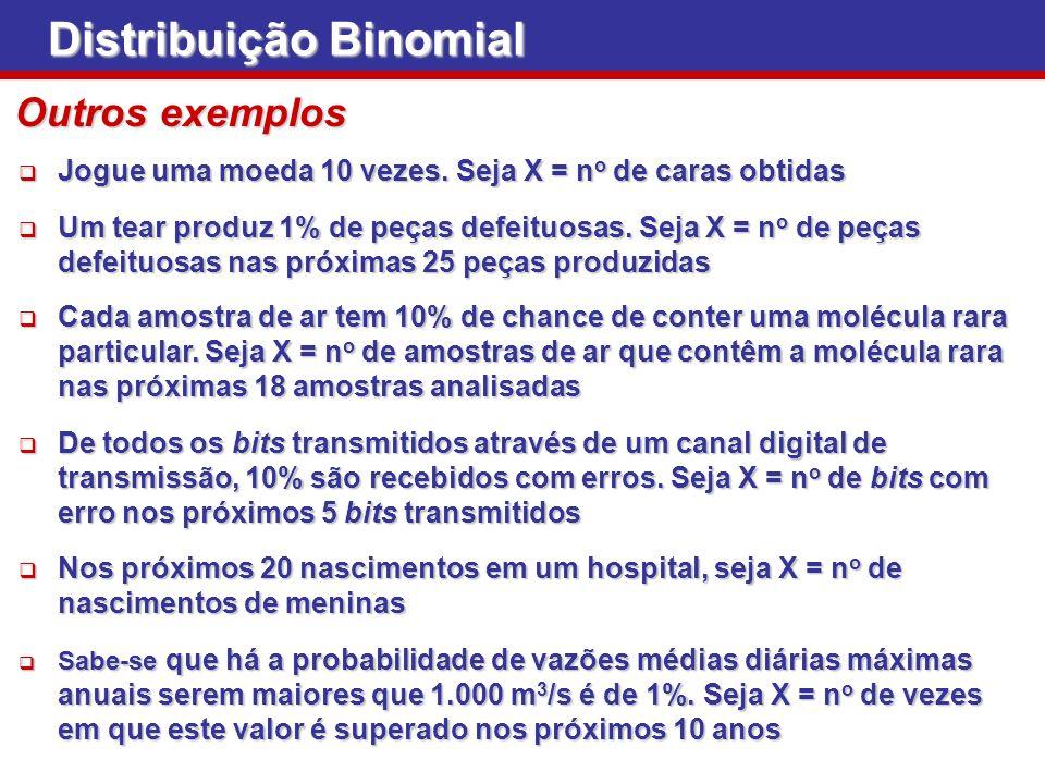 Distribuição Binomial Jogue uma moeda 10 vezes. Seja X = n o de caras obtidas Jogue uma moeda 10 vezes. Seja X = n o de caras obtidas Um tear produz 1