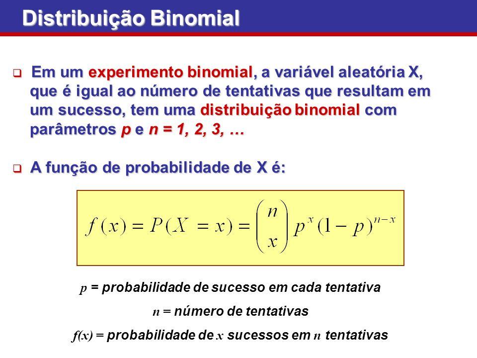 Distribuição Binomial Em um experimento binomial, a variável aleatória X, Em um experimento binomial, a variável aleatória X, que é igual ao número de