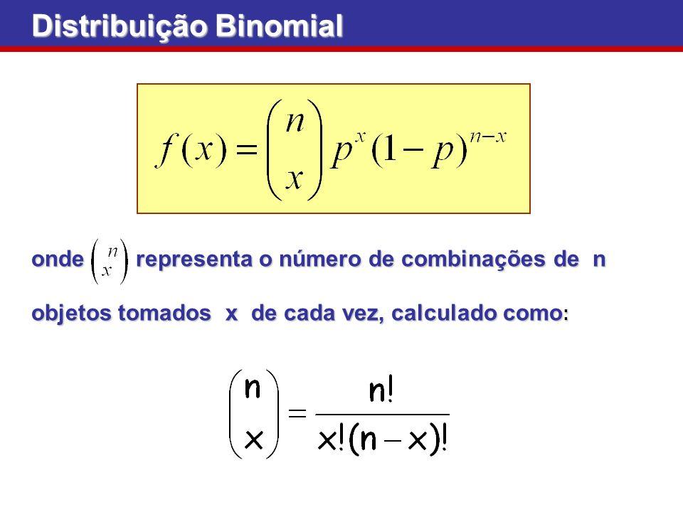 Distribuição Binomial onde representa o número de combinações de n objetos tomados x de cada vez, calculado como :