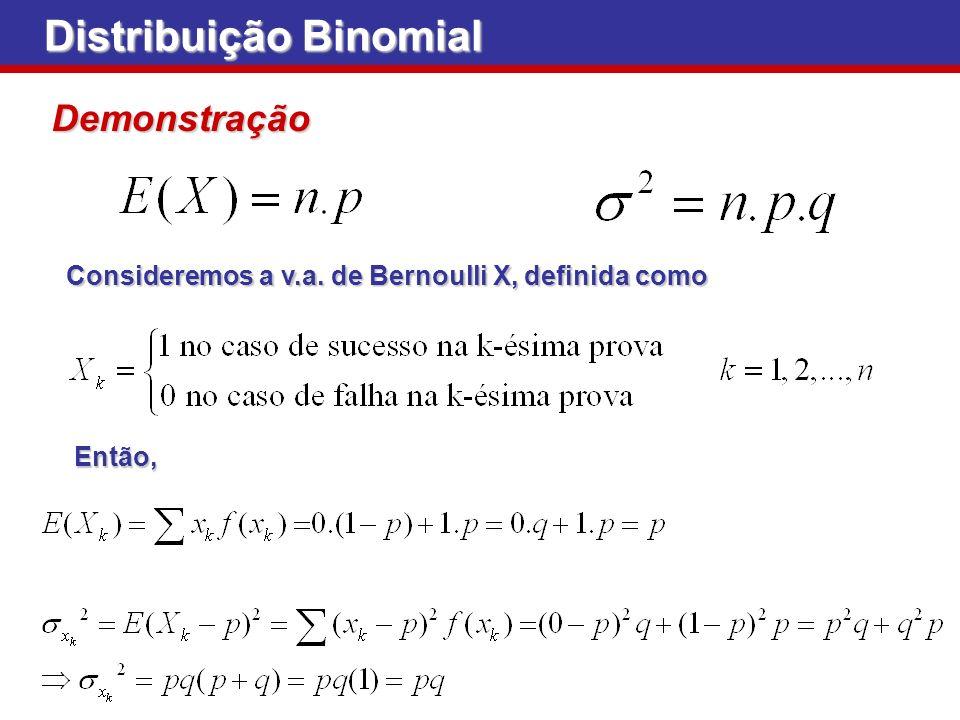 Distribuição Binomial Demonstração Consideremos a v.a. de Bernoulli X, definida como Então,
