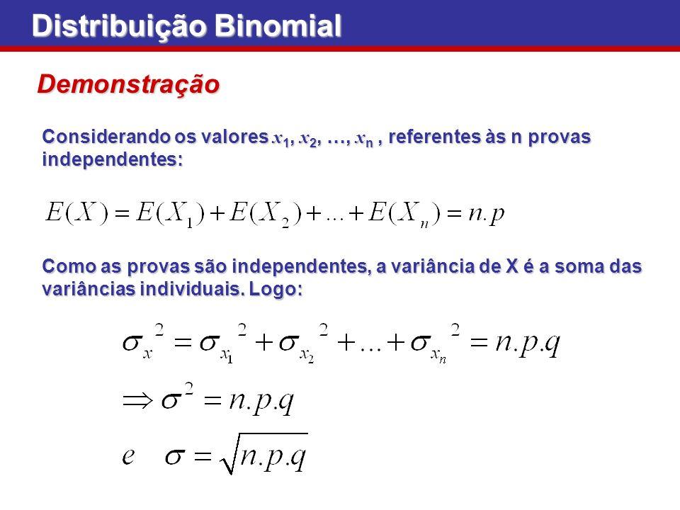 Distribuição Binomial Demonstração Considerando os valores x 1, x 2, …, x n, referentes às n provas independentes: Como as provas são independentes, a
