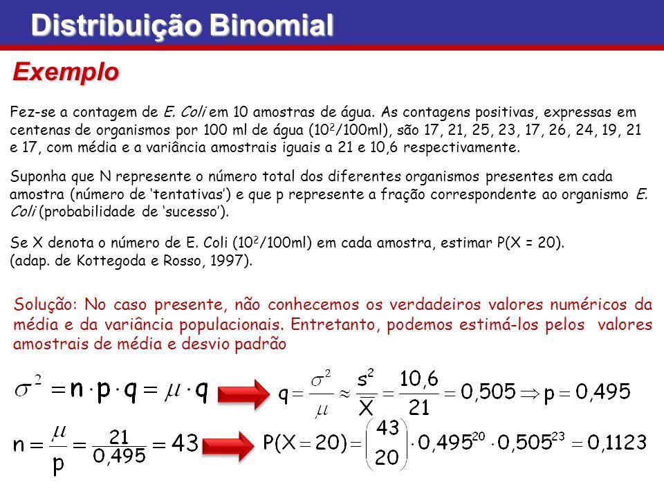 Distribuição Binomial Fez-se a contagem de E. Coli em 10 amostras de água. As contagens positivas, expressas em centenas de organismos por 100 ml de á
