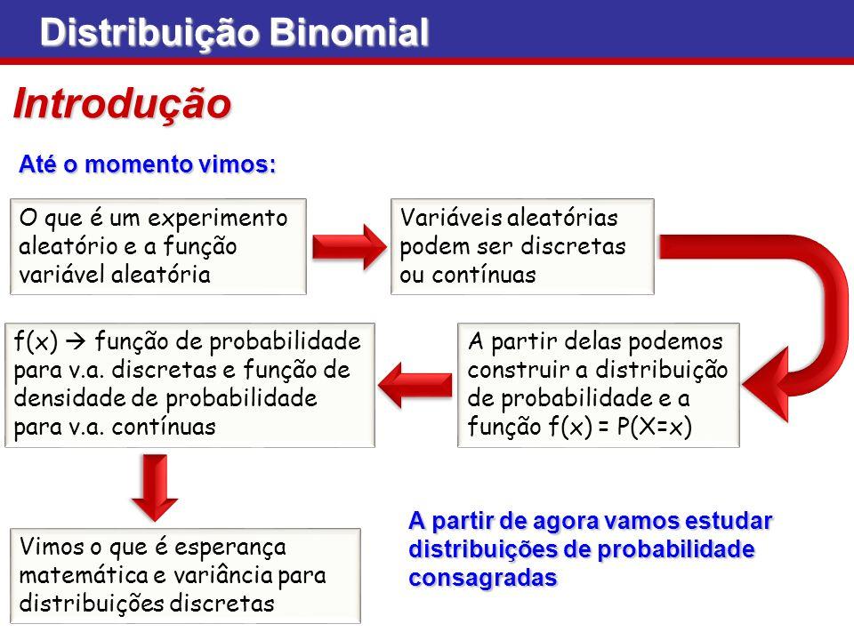 Introdução Até o momento vimos: O que é um experimento aleatório e a função variável aleatória Variáveis aleatórias podem ser discretas ou contínuas A