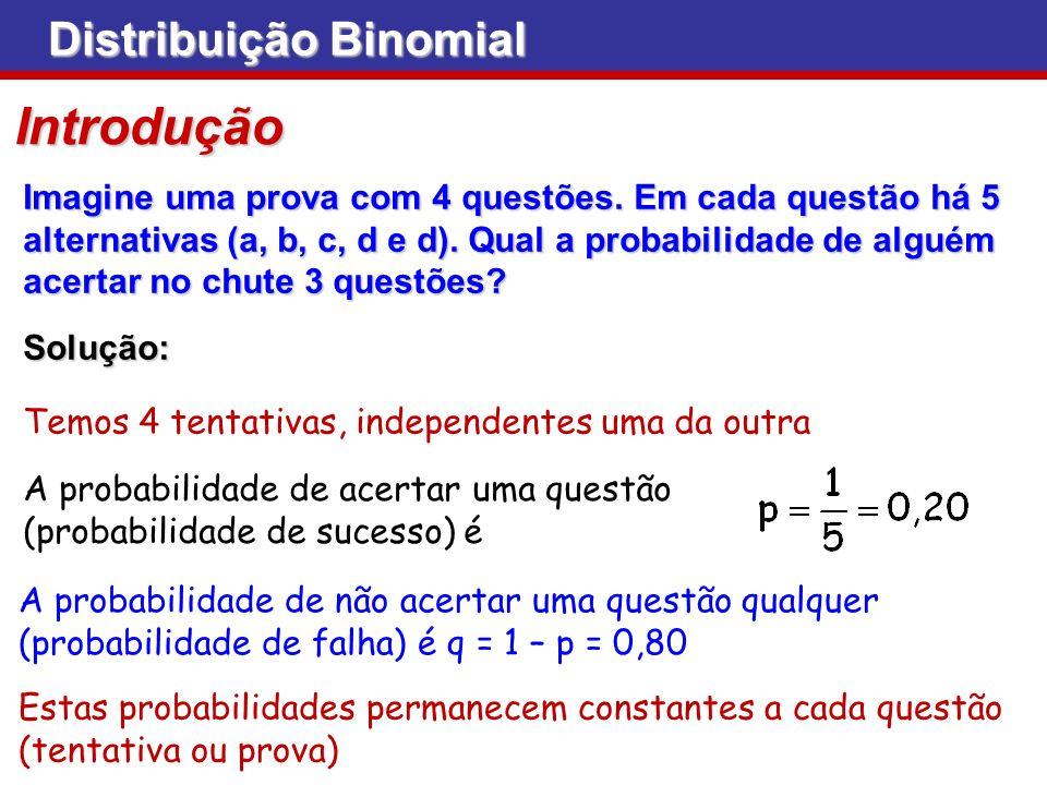 Distribuição Binomial Vê-se que: Vê-se que: Para p = 0,5, a forma da distribuição é simétrica Para p 0,5, a distribuição é assimétrica n=30, p=0,50 n=30, p=0,25n=30, p=0,75