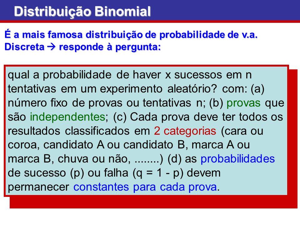 É a mais famosa distribuição de probabilidade de v.a. Discreta responde à pergunta: Distribuição Binomial qual a probabilidade de haver x sucessos em