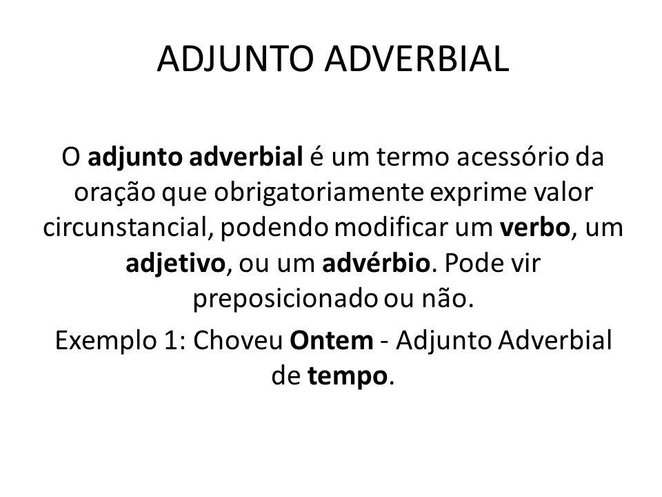 ADJUNTO ADVERBIAL O adjunto adverbial é um termo acessório da oração que obrigatoriamente exprime valor circunstancial, podendo modificar um verbo, um