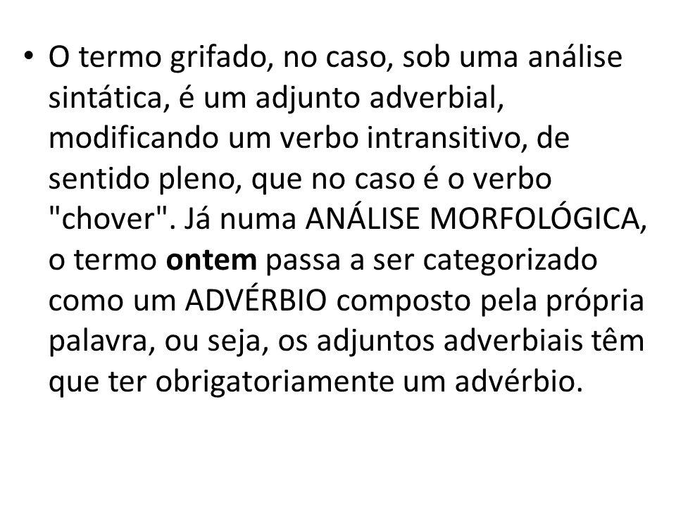 O termo grifado, no caso, sob uma análise sintática, é um adjunto adverbial, modificando um verbo intransitivo, de sentido pleno, que no caso é o verb