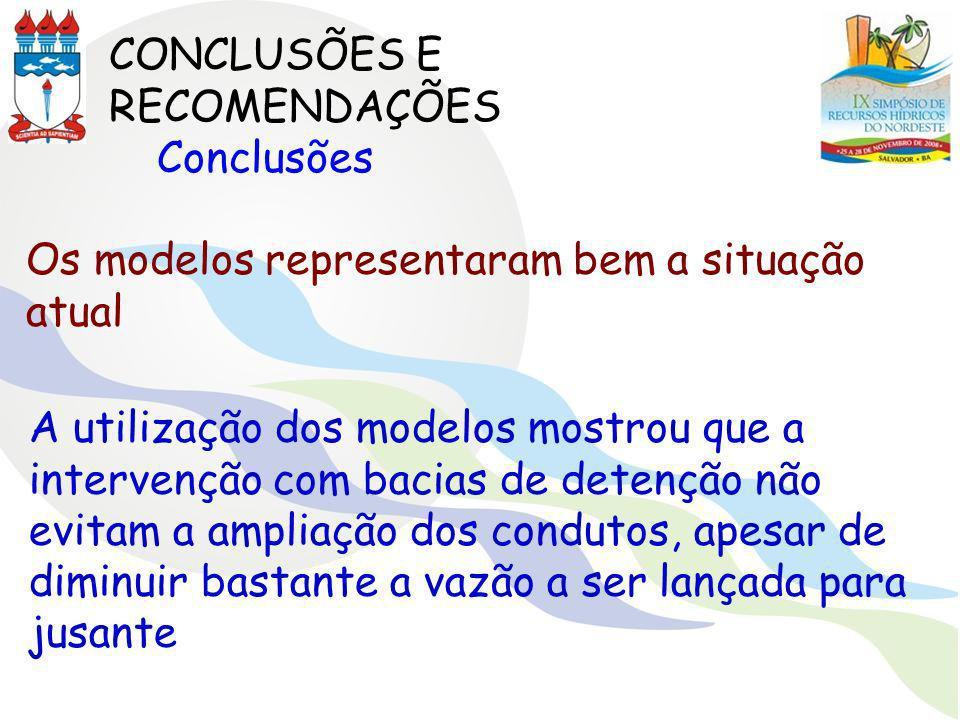 CONCLUSÕES E RECOMENDAÇÕES Conclusões Os modelos representaram bem a situação atual A utilização dos modelos mostrou que a intervenção com bacias de d