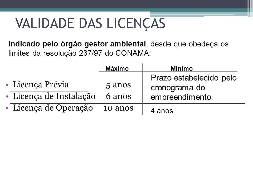 VALIDADE DAS LICENÇAS Licença Prévia 5 anos Licença de Instalação 6 anos Licença de Operação 10 anos Indicado pelo órgão gestor ambiental, desde que o