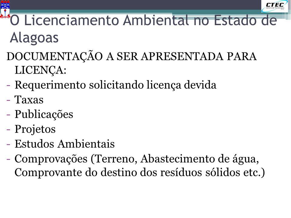 O Licenciamento Ambiental no Estado de Alagoas DOCUMENTAÇÃO A SER APRESENTADA PARA LICENÇA: -Requerimento solicitando licença devida -Taxas -Publicaçõ
