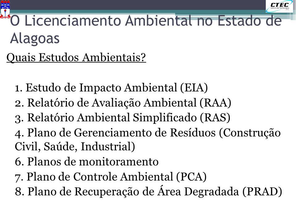 O Licenciamento Ambiental no Estado de Alagoas Quais Estudos Ambientais? 1. Estudo de Impacto Ambiental (EIA) 2. Relatório de Avaliação Ambiental (RAA