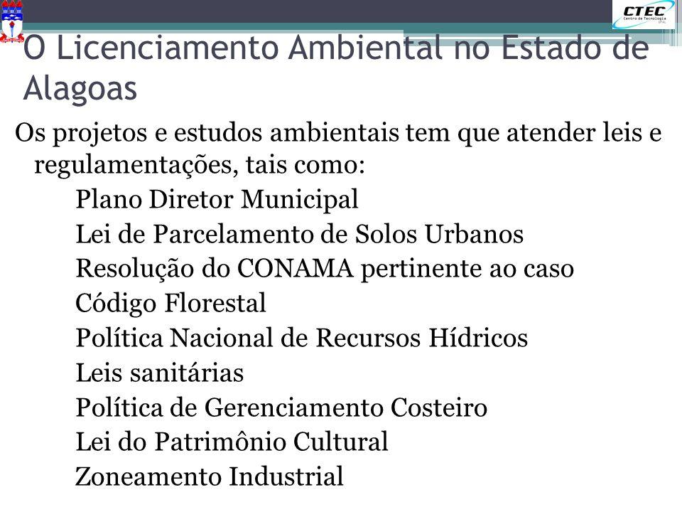 O Licenciamento Ambiental no Estado de Alagoas Os projetos e estudos ambientais tem que atender leis e regulamentações, tais como: Plano Diretor Munic