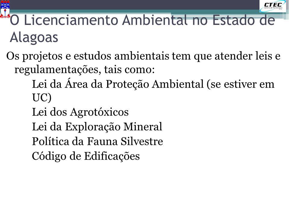 O Licenciamento Ambiental no Estado de Alagoas Os projetos e estudos ambientais tem que atender leis e regulamentações, tais como: Lei da Área da Prot
