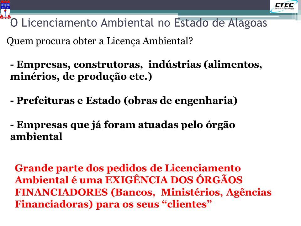 O Licenciamento Ambiental no Estado de Alagoas Quem procura obter a Licença Ambiental? - Empresas, construtoras, indústrias (alimentos, minérios, de p