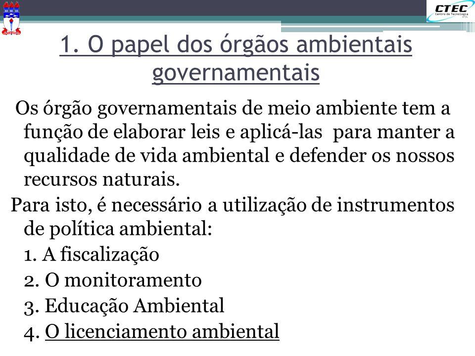 1. O papel dos órgãos ambientais governamentais Os órgão governamentais de meio ambiente tem a função de elaborar leis e aplicá-las para manter a qual