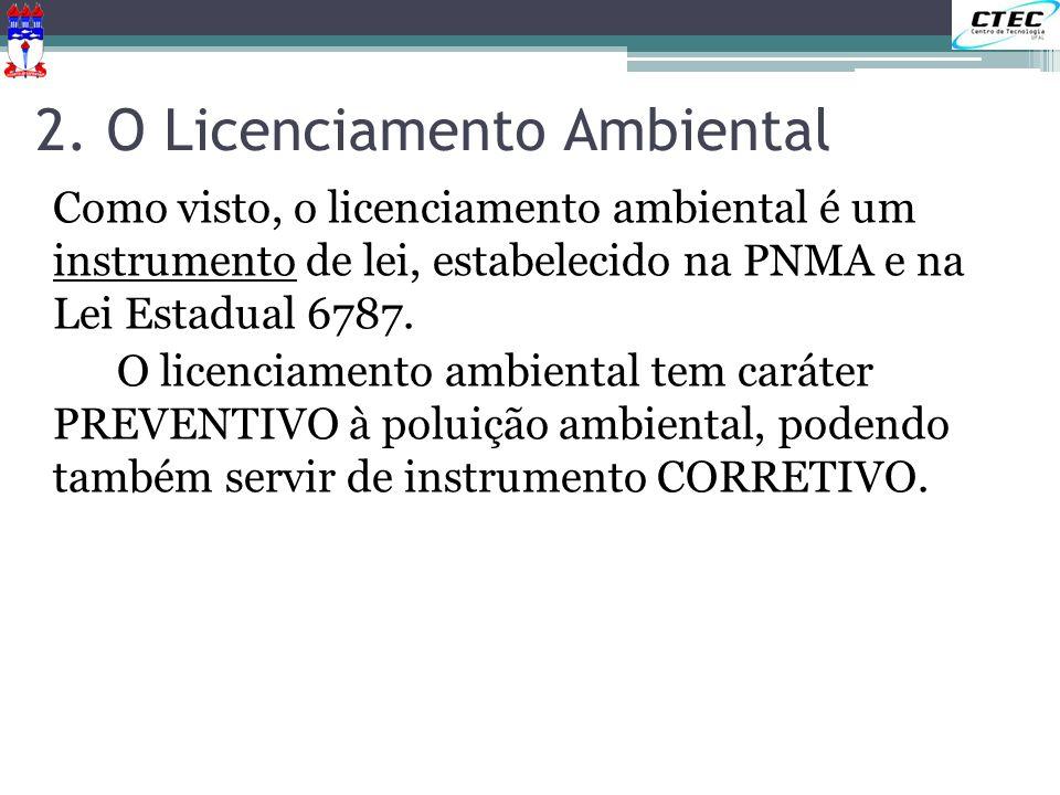 2. O Licenciamento Ambiental Como visto, o licenciamento ambiental é um instrumento de lei, estabelecido na PNMA e na Lei Estadual 6787. O licenciamen