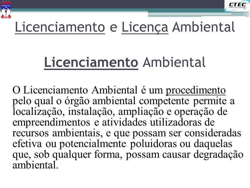 Licenciamento Ambiental O Licenciamento Ambiental é um procedimento pelo qual o órgão ambiental competente permite a localização, instalação, ampliaçã