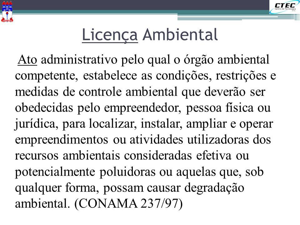 Licença Ambiental Ato administrativo pelo qual o órgão ambiental competente, estabelece as condições, restrições e medidas de controle ambiental que d