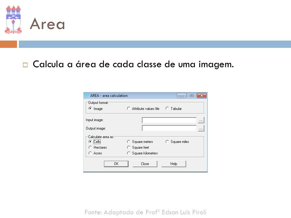 Area Calcula a área de cada classe de uma imagem. Fonte: Adaptado de Profº Edson Luís Piroli