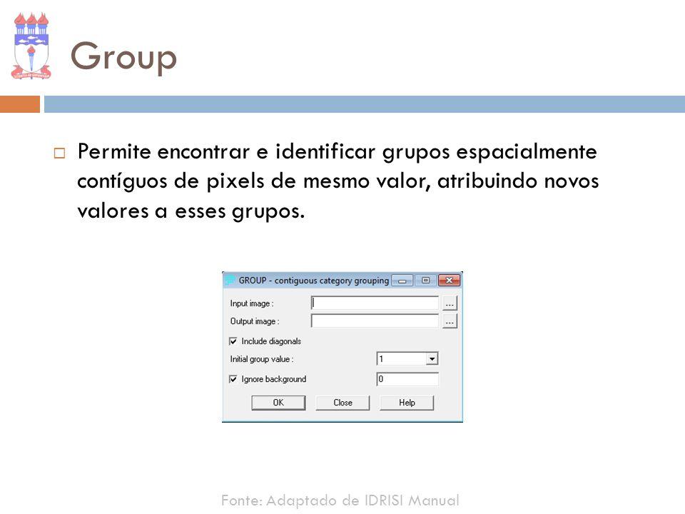 Group Permite encontrar e identificar grupos espacialmente contíguos de pixels de mesmo valor, atribuindo novos valores a esses grupos. Fonte: Adaptad