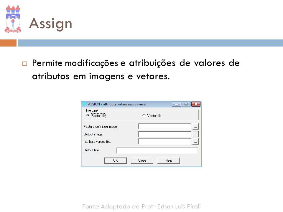 Assign Permite modificações e atribuições de valores de atributos em imagens e vetores. Fonte: Adaptado de Profº Edson Luís Piroli
