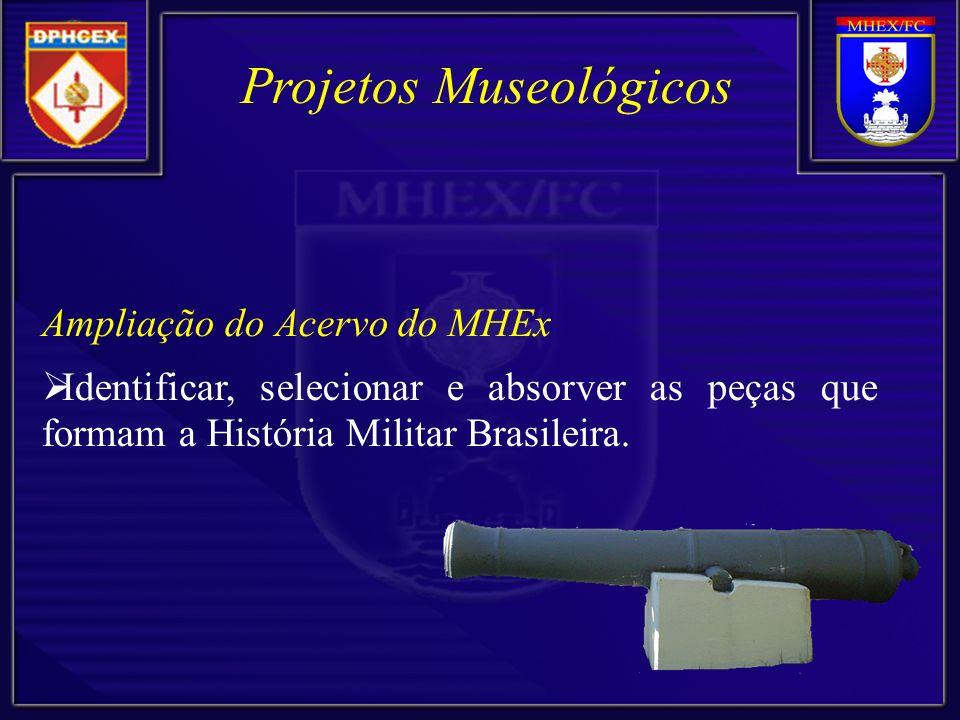 Ampliação do Acervo do MHEx Identificar, selecionar e absorver as peças que formam a História Militar Brasileira.