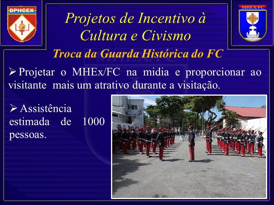 Projetar o MHEx/FC na midia e proporcionar ao visitante mais um atrativo durante a visitação. Projetos de Incentivo à Cultura e Civismo Assistência es