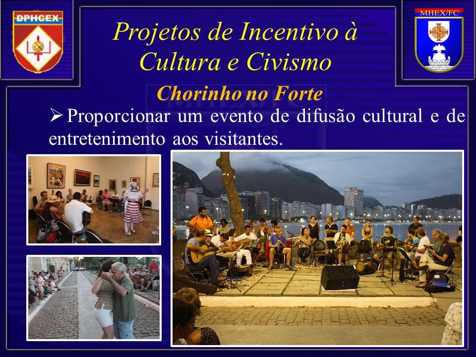 Proporcionar um evento de difusão cultural e de entretenimento aos visitantes. Projetos de Incentivo à Cultura e Civismo Chorinho no Forte