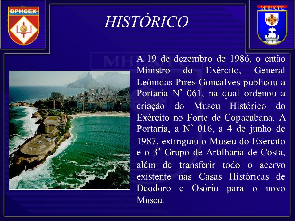 A partir desse momento, o Museu Histórico do Exército e Forte de Copacabana formou uma equipe técnica multidisciplinar e, em setembro de 1996, HISTÓRICO inaugurou o Salão Colônia-Império com a Exposição Permanente O EXÉRCITO NA FORMAÇÃO DA NACIONALIDADE.
