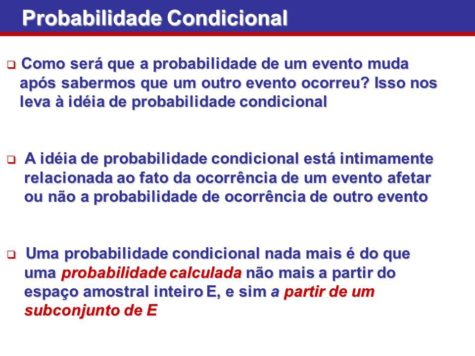 Probabilidade Condicional Como será que a probabilidade de um evento muda Como será que a probabilidade de um evento muda após sabermos que um outro e