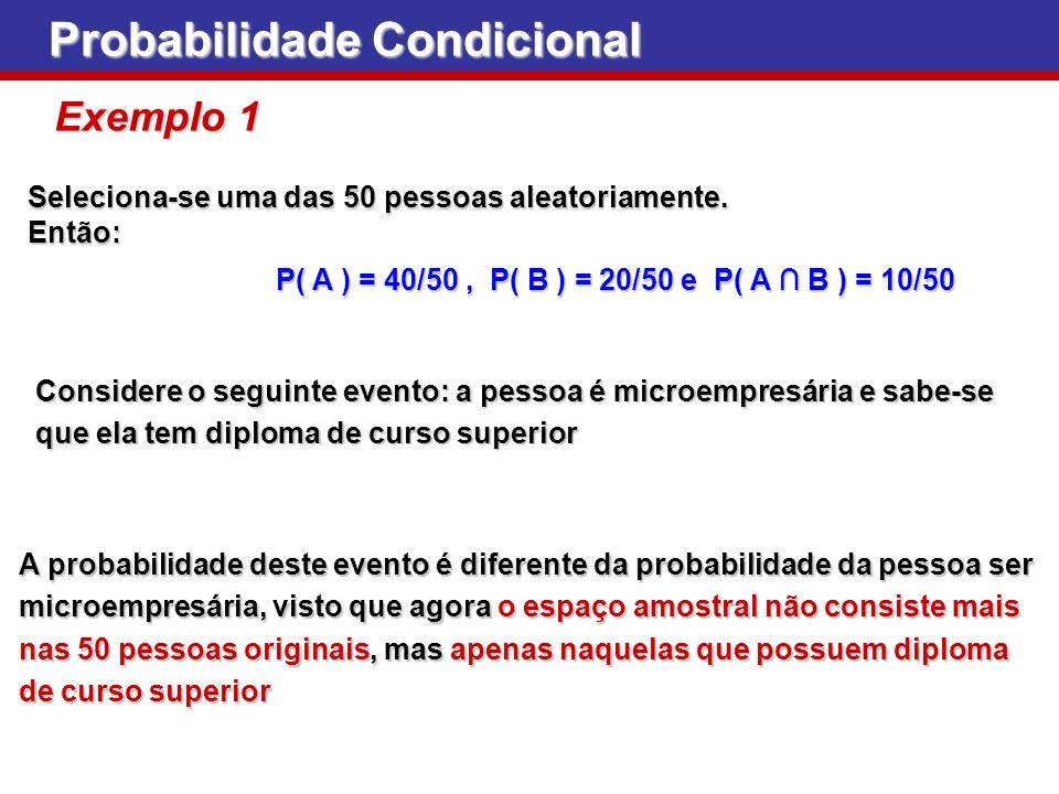 Seleciona-se uma das 50 pessoas aleatoriamente. Então: Probabilidade Condicional Exemplo 1 P( A ) = 40/50, P( B ) = 20/50 e P( A B ) = 10/50 Considere