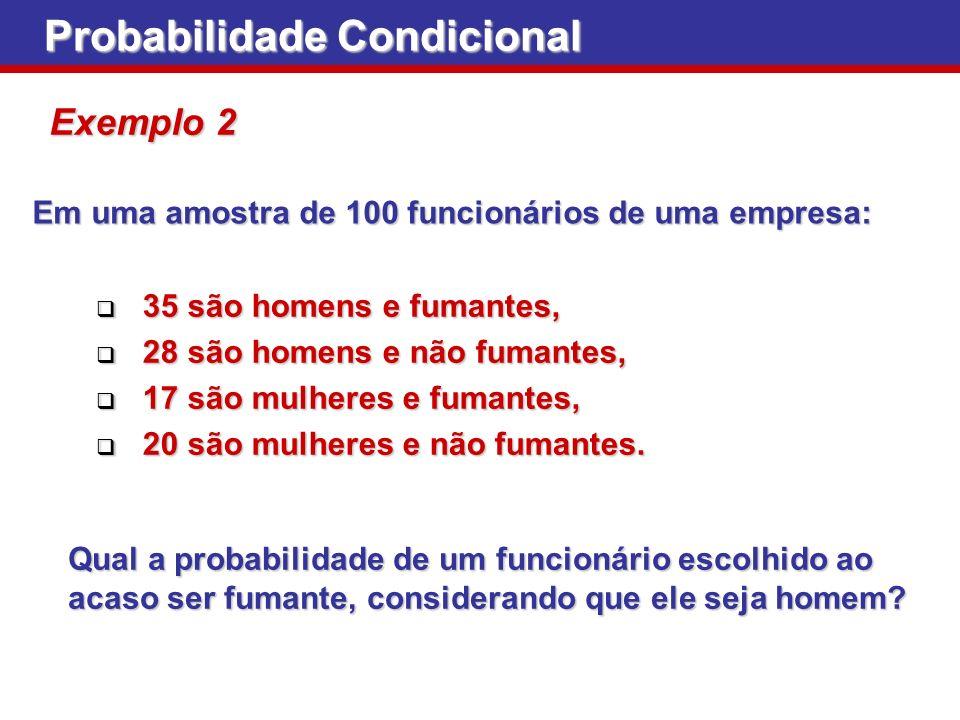 Probabilidade Condicional Exemplo 2 Em uma amostra de 100 funcionários de uma empresa: 35 são homens e fumantes, 35 são homens e fumantes, 28 são home