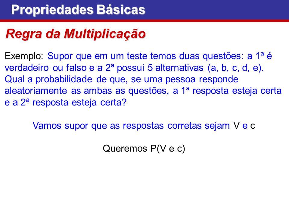 Propriedades Básicas Regra da Multiplicação Exemplo: Supor que em um teste temos duas questões: a 1ª é verdadeiro ou falso e a 2ª possui 5 alternativa
