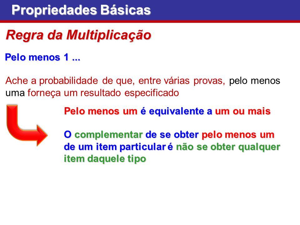 Propriedades Básicas Regra da Multiplicação Pelo menos 1... Pelo menos um é equivalente a um ou mais Ache a probabilidade de que, entre várias provas,