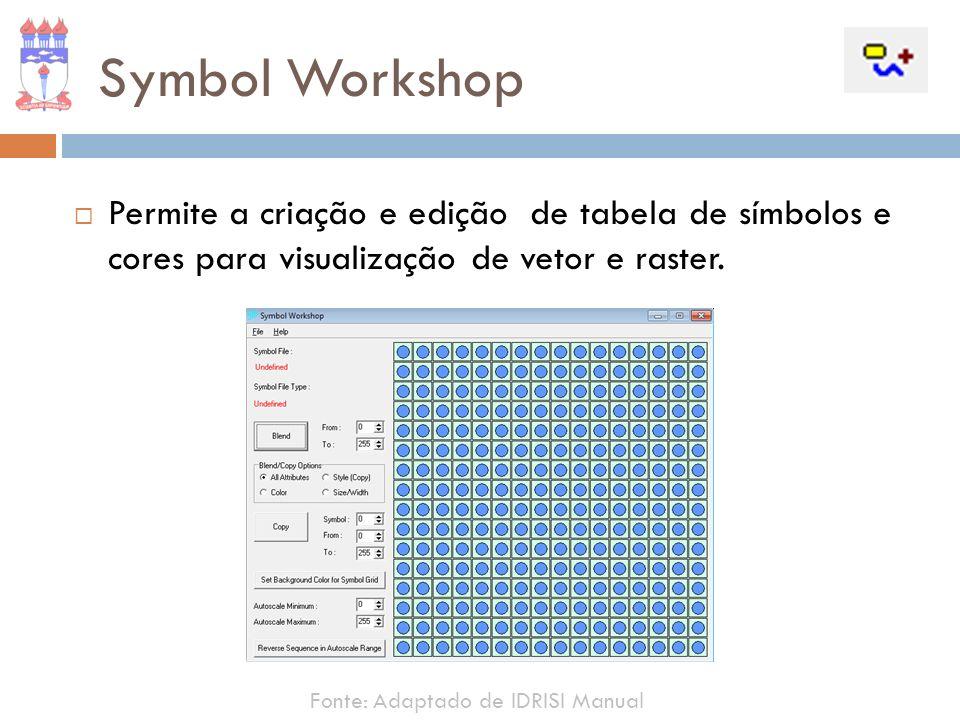 Permite a criação e edição de tabela de símbolos e cores para visualização de vetor e raster. Symbol Workshop Fonte: Adaptado de IDRISI Manual
