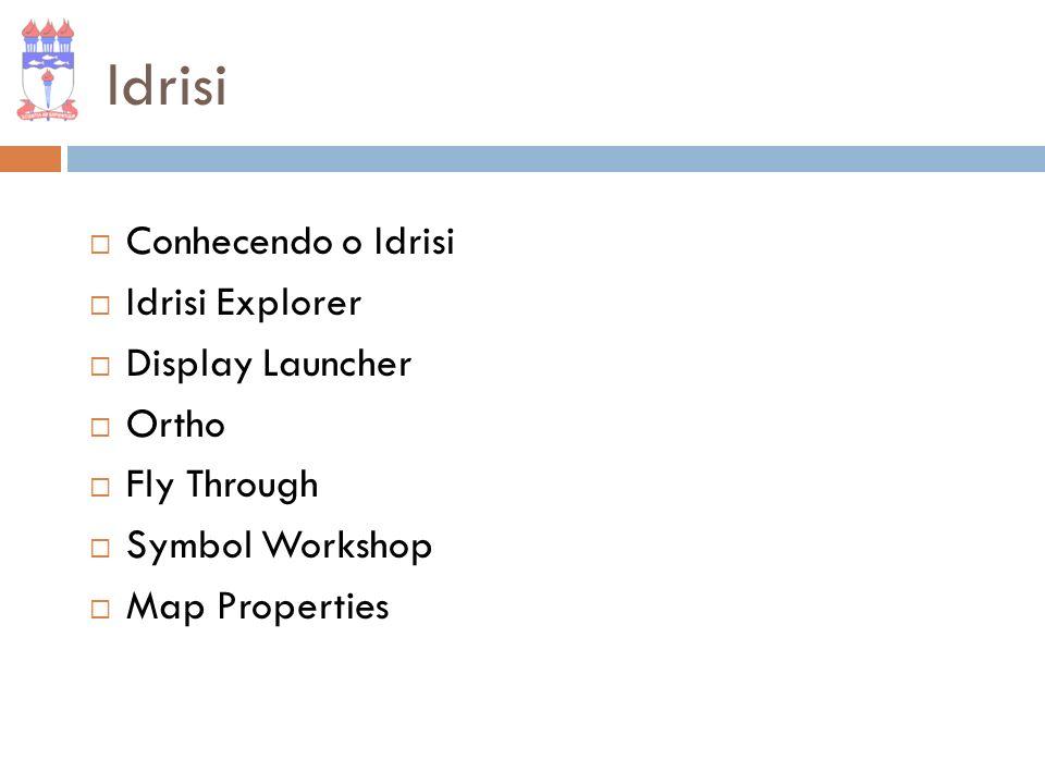 Idrisi Conhecendo o Idrisi Idrisi Explorer Display Launcher Ortho Fly Through Symbol Workshop Map Properties