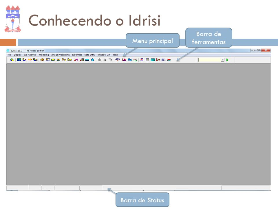 Barra de ferramentas Menu principal Barra de Status Conhecendo o Idrisi