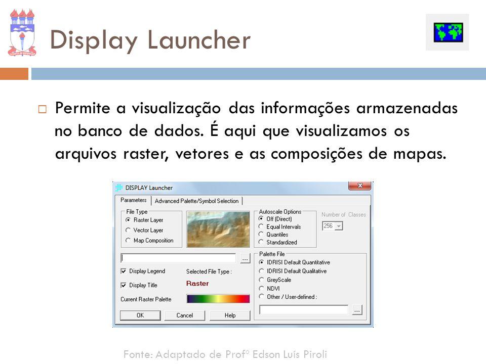 Display Launcher Permite a visualização das informações armazenadas no banco de dados. É aqui que visualizamos os arquivos raster, vetores e as compos