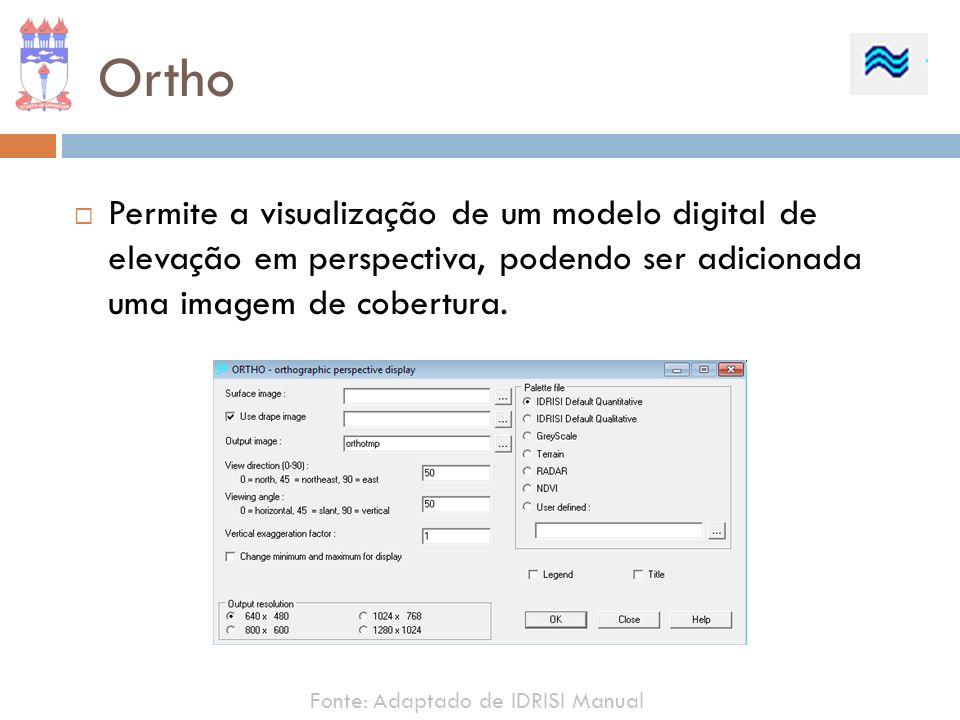 Ortho Permite a visualização de um modelo digital de elevação em perspectiva, podendo ser adicionada uma imagem de cobertura. Fonte: Adaptado de IDRIS