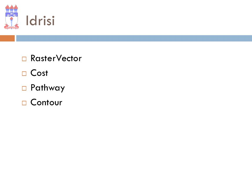 Idrisi RasterVector Cost Pathway Contour