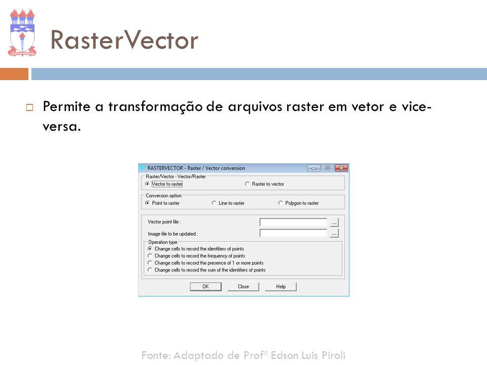 RasterVector Permite a transformação de arquivos raster em vetor e vice- versa. Fonte: Adaptado de Profº Edson Luís Piroli