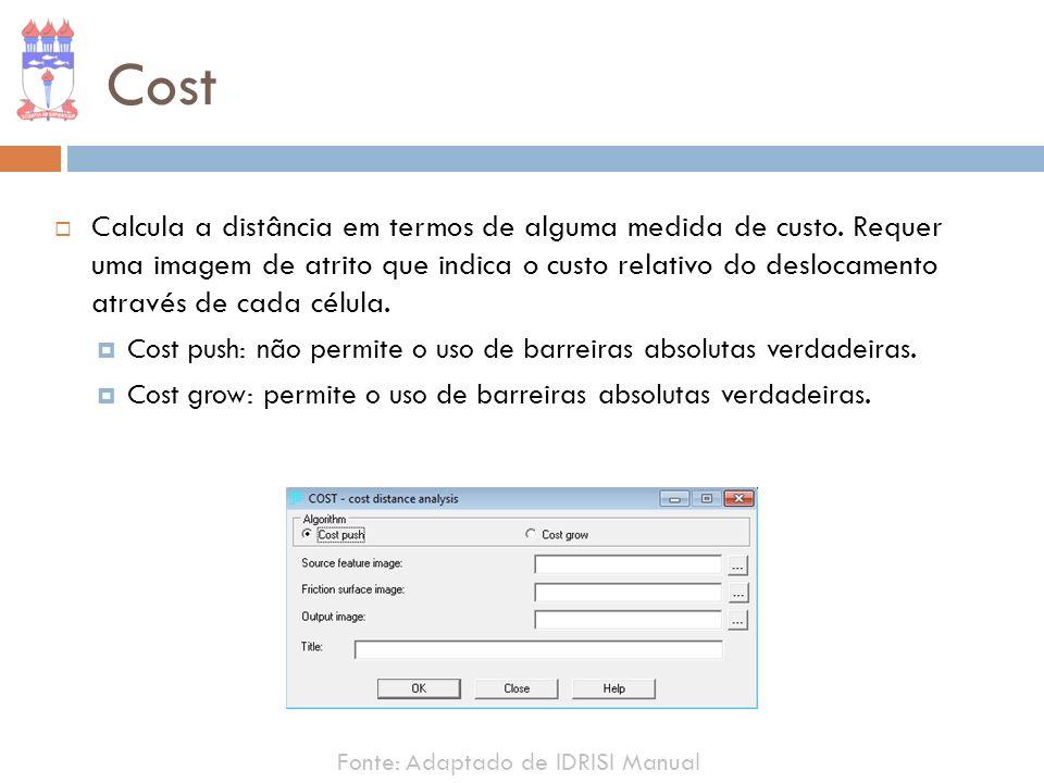 Cost Calcula a distância em termos de alguma medida de custo. Requer uma imagem de atrito que indica o custo relativo do deslocamento através de cada