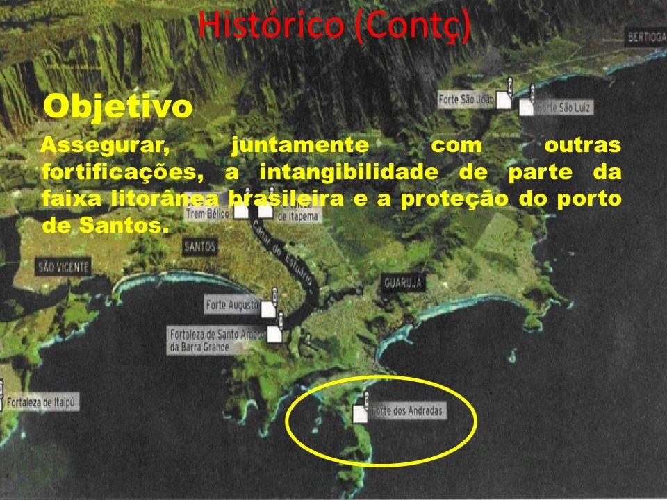 Histórico (Contç) Objetivo Assegurar, juntamente com outras fortificações, a intangibilidade de parte da faixa litorânea brasileira e a proteção do po