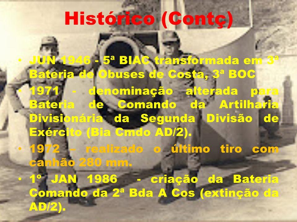 Histórico (Contç) JUN 1946 - 5ª BIAC transformada em 3ª Bateria de Obuses de Costa, 3ª BOC 1971 - denominação alterada para Bateria de Comando da Arti