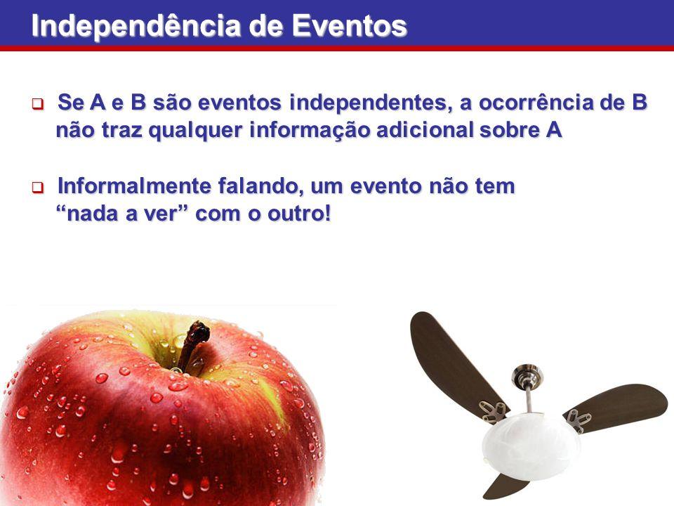 Independência de Eventos Se A e B são eventos independentes, a ocorrência de B Se A e B são eventos independentes, a ocorrência de B não traz qualquer